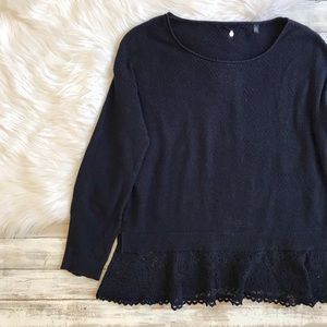Anthropologie Knitted & Knotted Bloom Lace Sweater